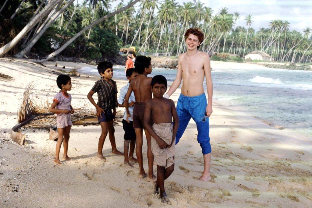 Duran Duran's John Taylor on the beach in Sri Lanka to film the Save A Prayer video (1980s)