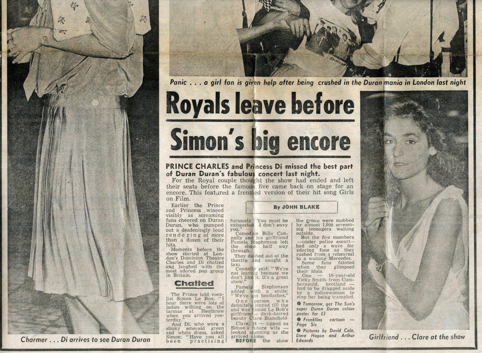 Princess Diana - Duran Duran fan - The Sun - July 21 1983 (1)