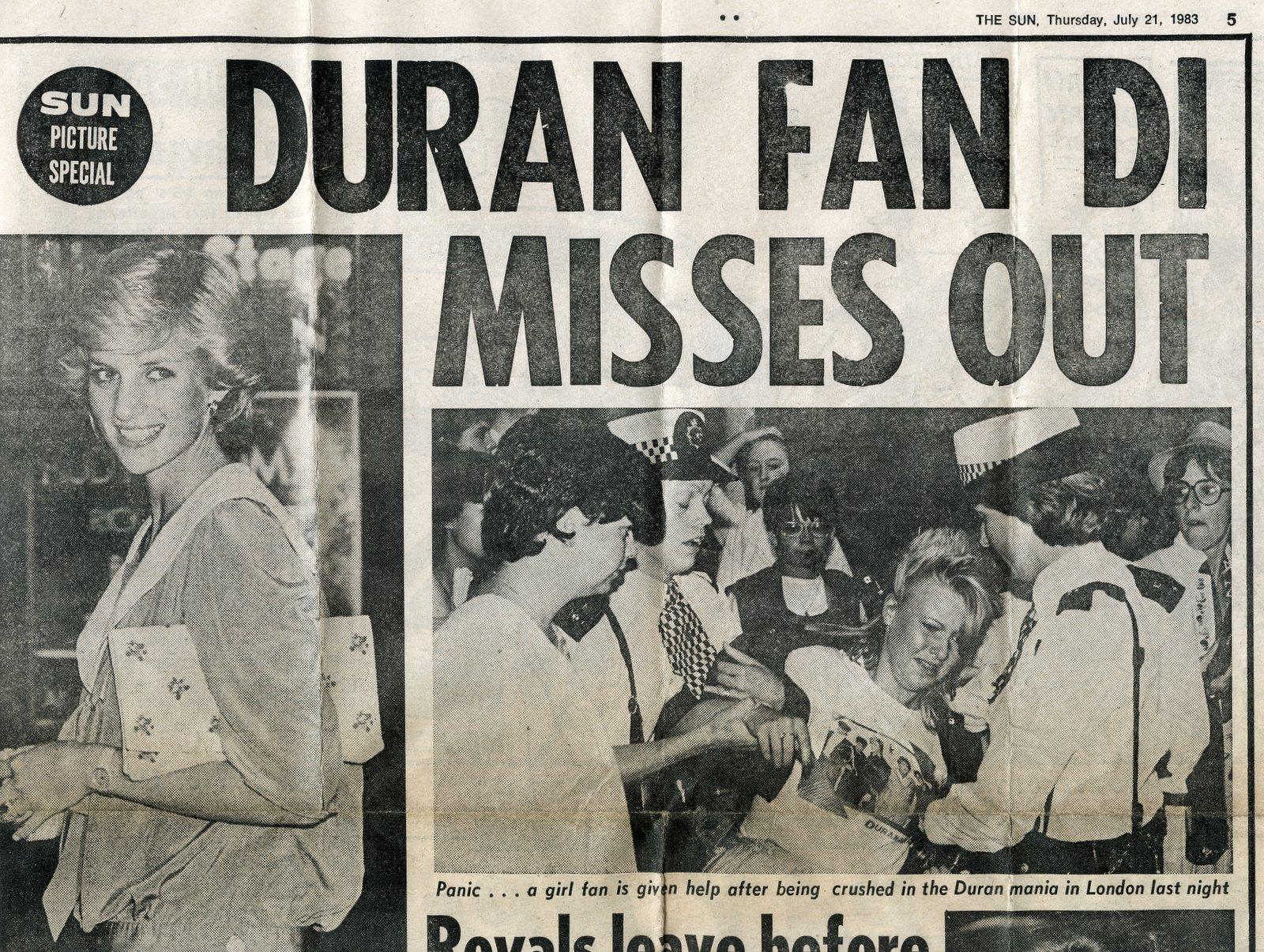 Princess Diana - Duran Duran fan - The Sun - July 21 1983 (2)