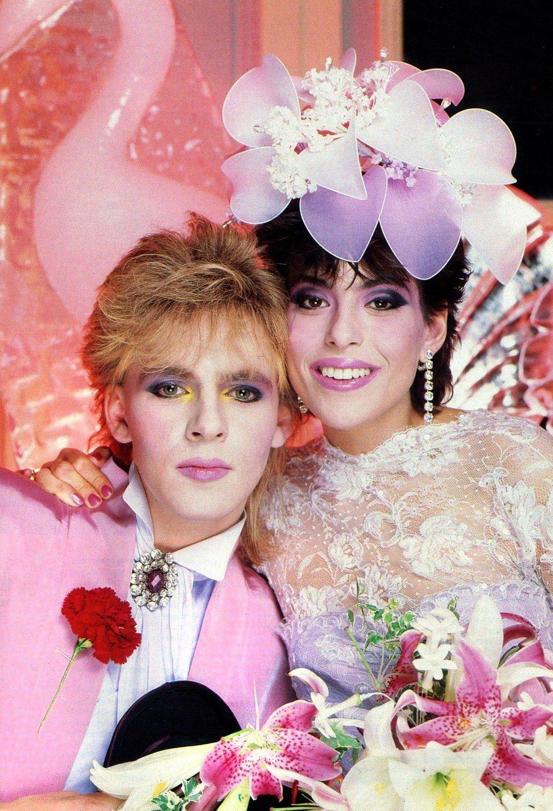 Vintage Duran Duran - Nick Rhodes and Julie Ann Friedman wedding photo (1984)