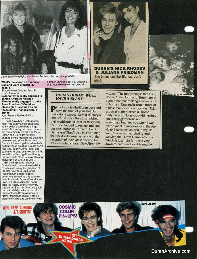 Duran Duran scrapbook pages