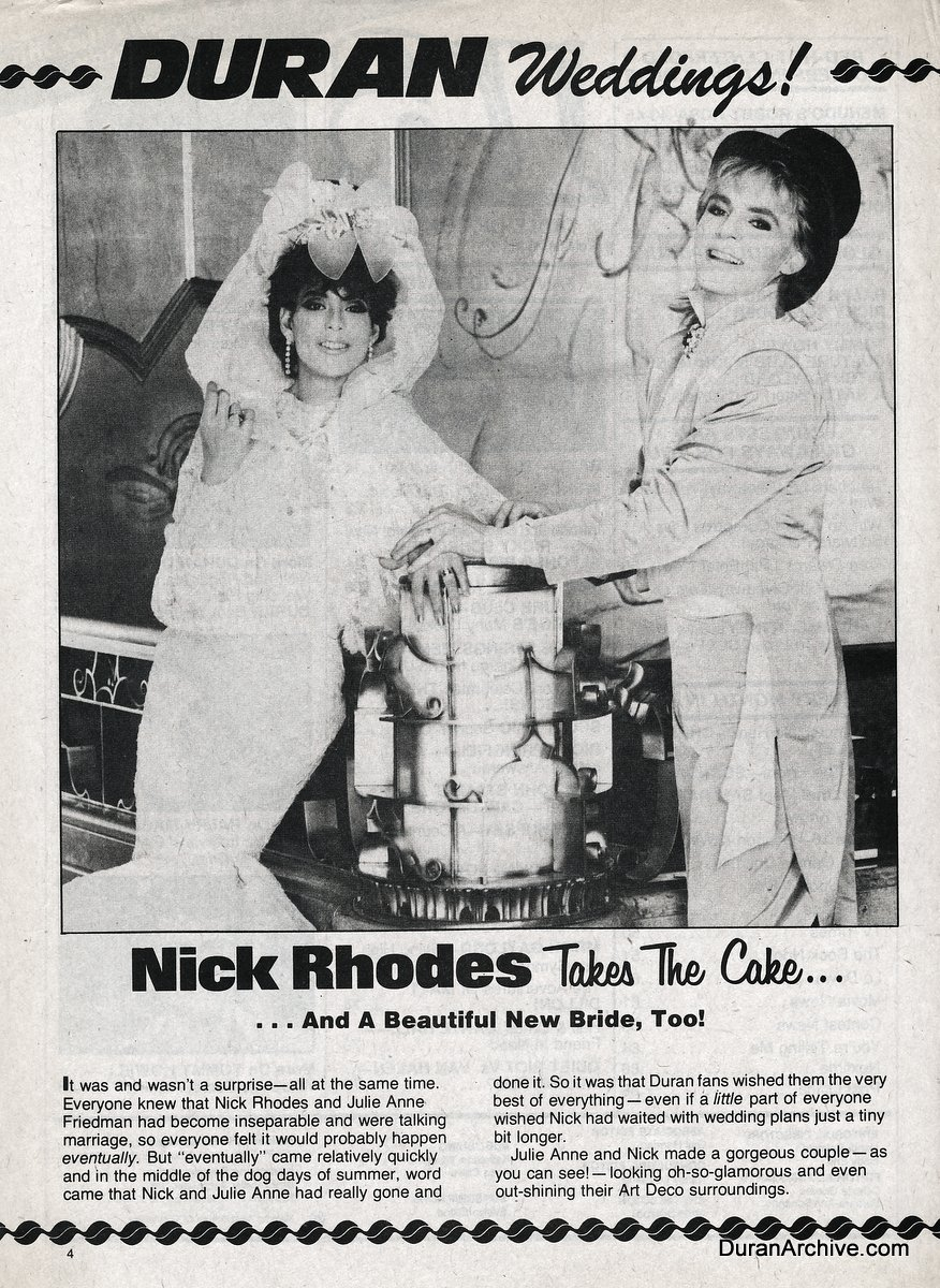 A look at Nick Rhodes' wedding day