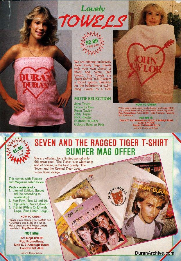 Duran Duran towels, shirts, etc